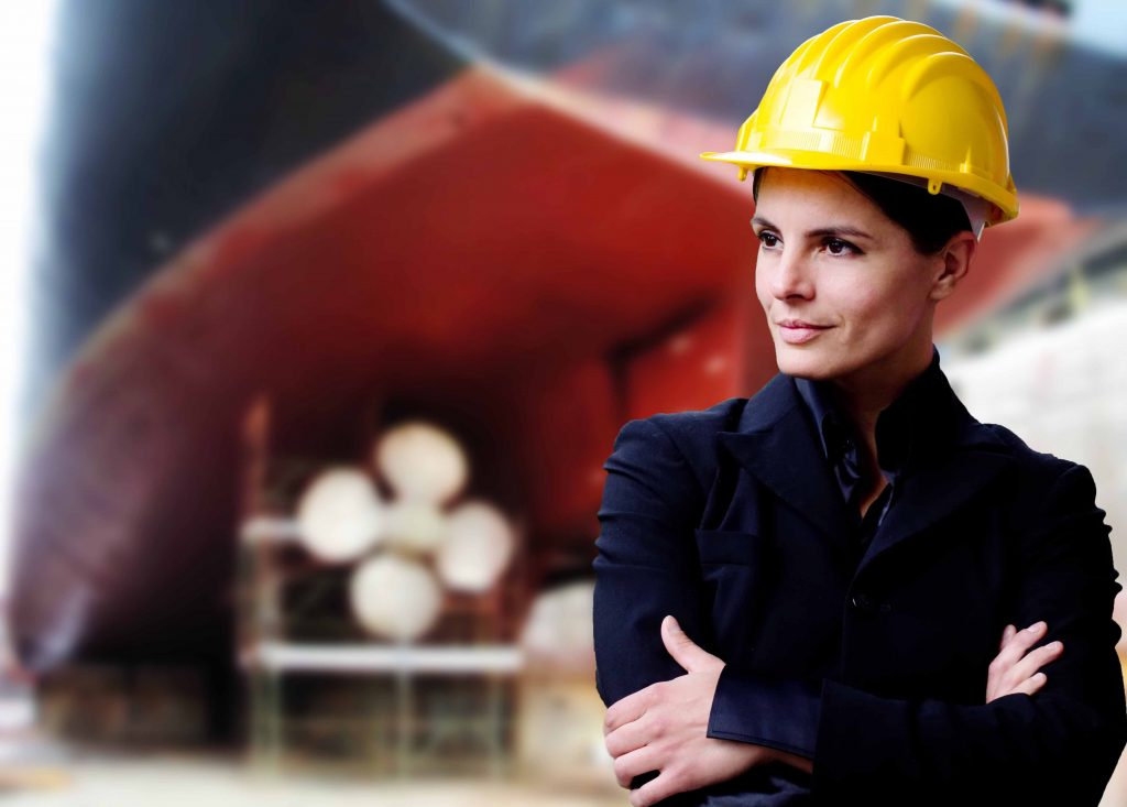 female naval engineer with dry-dock background